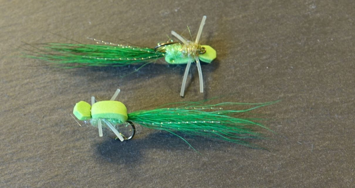 green micro gurgler mouche fly tying eclosion