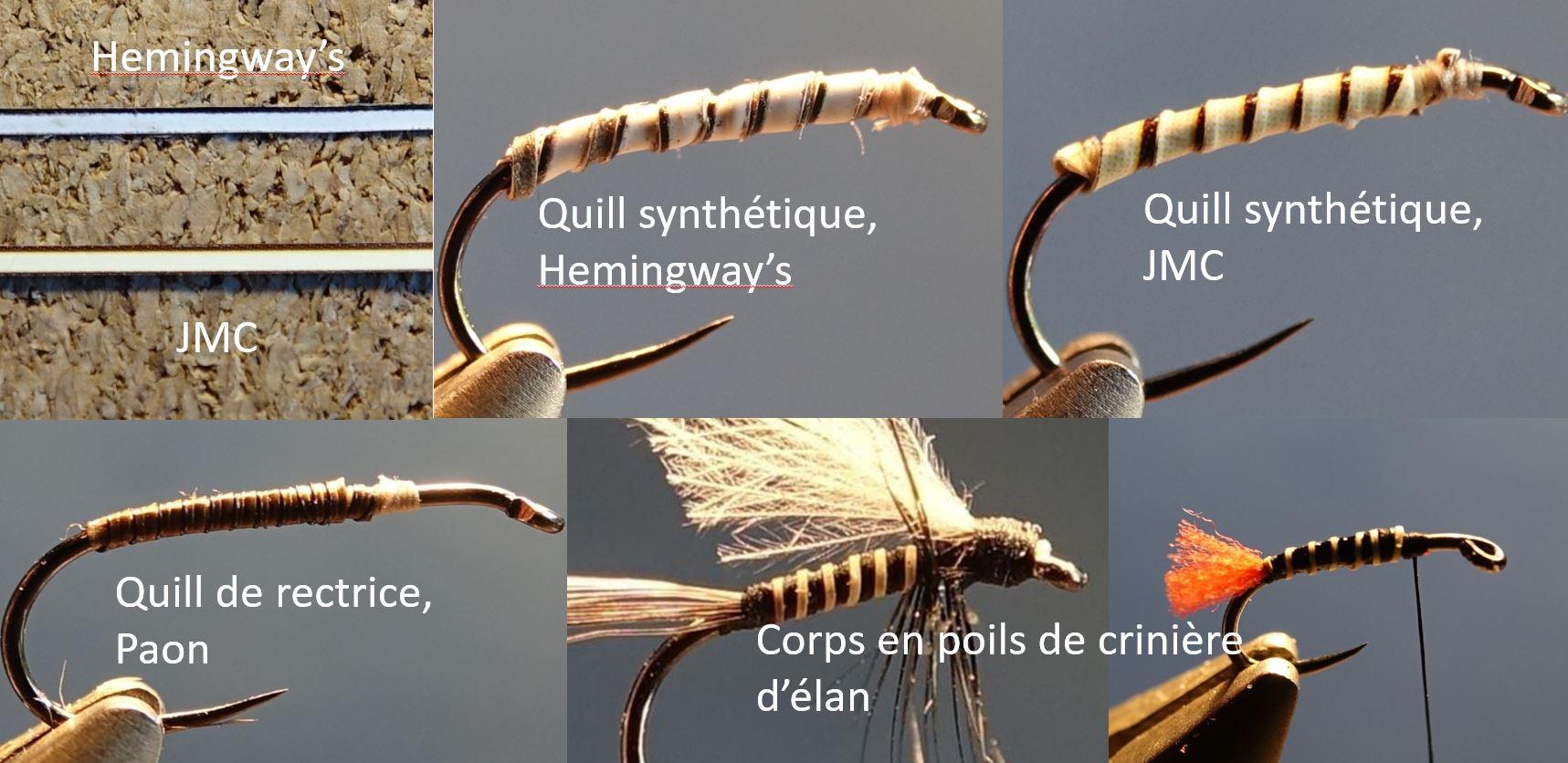 quill naturel synthetique poil crinière d'élan mouche fly tying eclosion