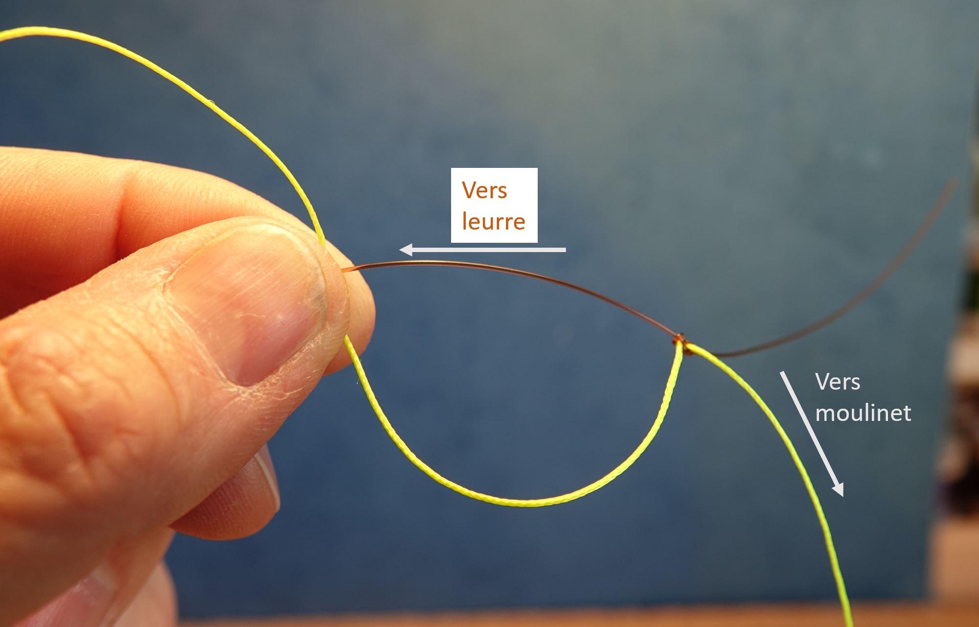 Noeud raccord tresse fluorocarbone nylon knot eclosion